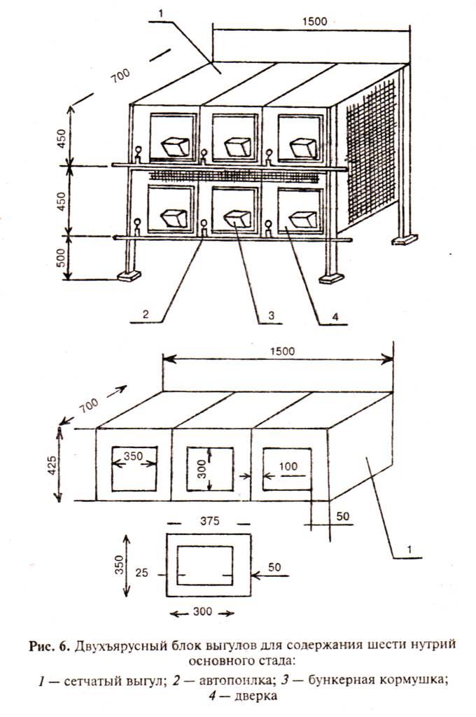 Конструкції клітин для нутрій